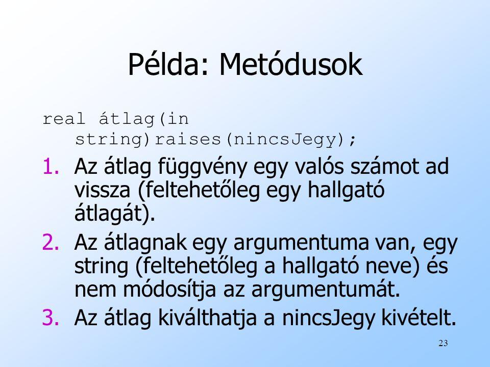 23 Példa: Metódusok real átlag(in string)raises(nincsJegy); 1.Az átlag függvény egy valós számot ad vissza (feltehetőleg egy hallgató átlagát).