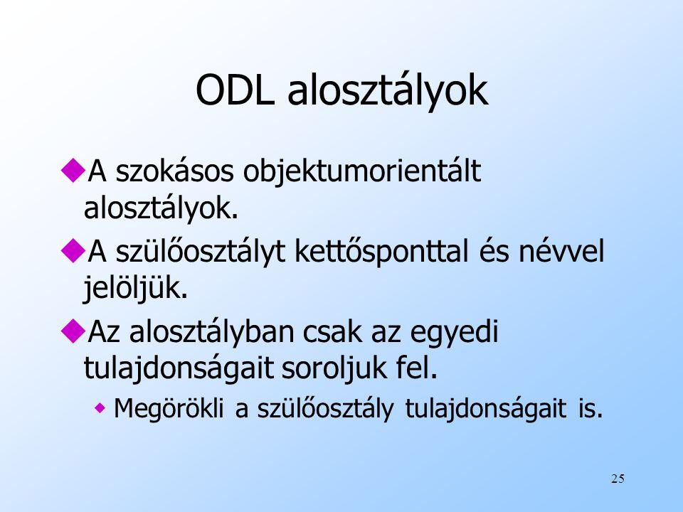 25 ODL alosztályok uA szokásos objektumorientált alosztályok.