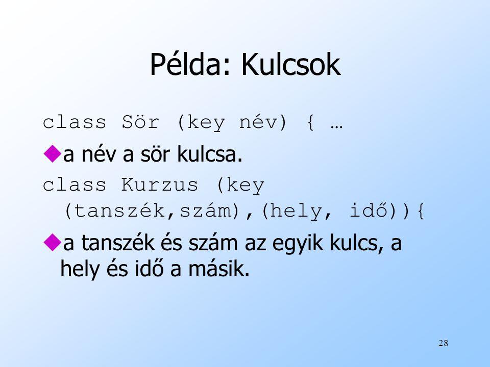 28 Példa: Kulcsok class Sör (key név) { … ua név a sör kulcsa.