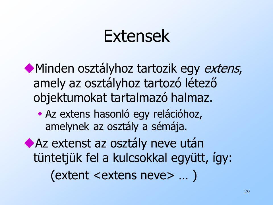 29 Extensek uMinden osztályhoz tartozik egy extens, amely az osztályhoz tartozó létező objektumokat tartalmazó halmaz.