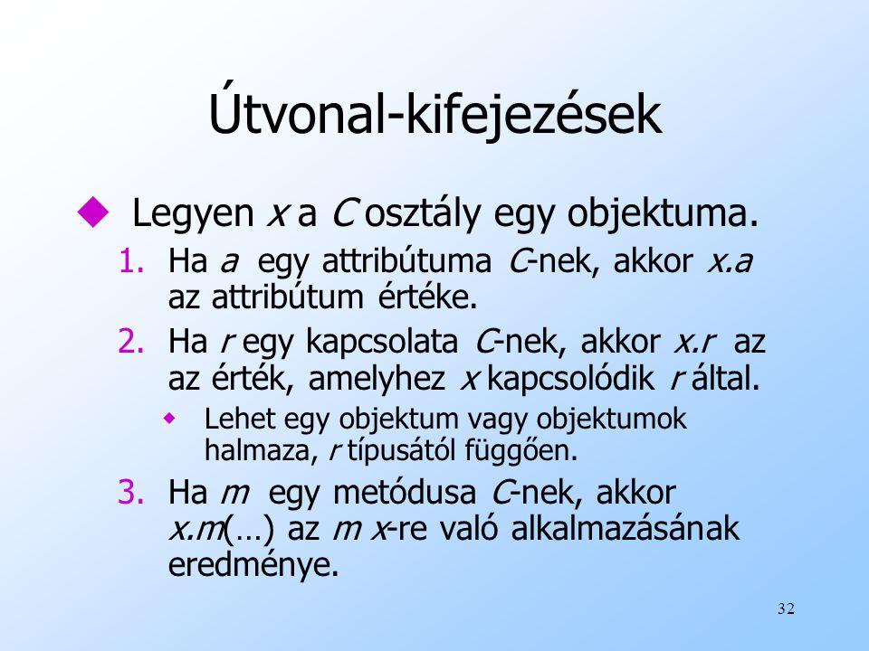 32 Útvonal-kifejezések uLegyen x a C osztály egy objektuma.