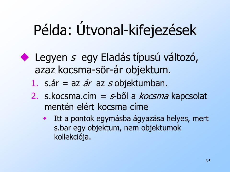 35 Példa: Útvonal-kifejezések uLegyen s egy Eladás típusú változó, azaz kocsma-sör-ár objektum.