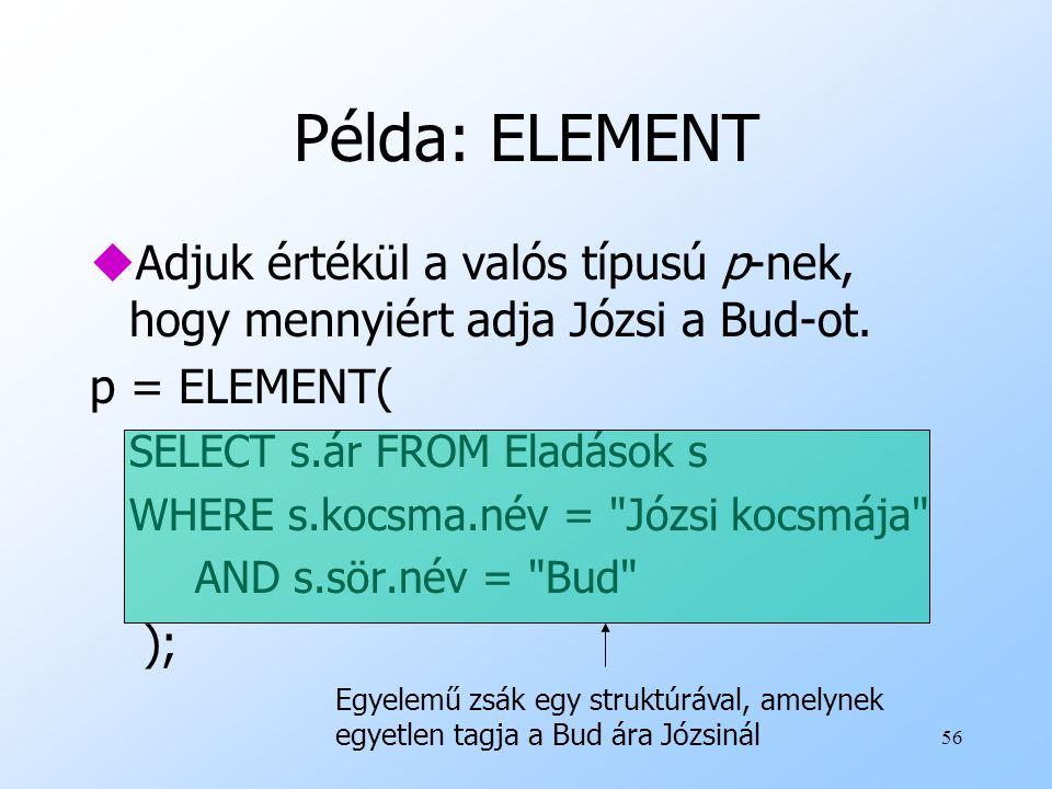 56 Példa: ELEMENT uAdjuk értékül a valós típusú p-nek, hogy mennyiért adja Józsi a Bud-ot.