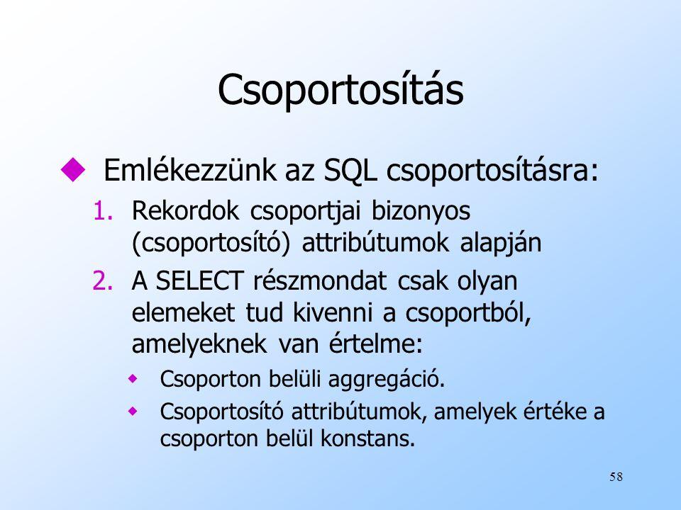 58 Csoportosítás uEmlékezzünk az SQL csoportosításra: 1.Rekordok csoportjai bizonyos (csoportosító) attribútumok alapján 2.A SELECT részmondat csak olyan elemeket tud kivenni a csoportból, amelyeknek van értelme: wCsoporton belüli aggregáció.