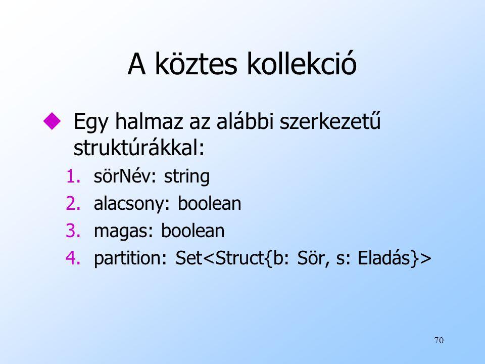 70 A köztes kollekció uEgy halmaz az alábbi szerkezetű struktúrákkal: 1.sörNév: string 2.alacsony: boolean 3.magas: boolean 4.partition: Set