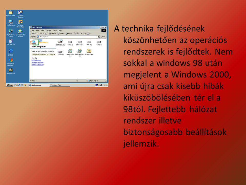 A technika fejlődésének köszönhetően az operációs rendszerek is fejlődtek. Nem sokkal a windows 98 után megjelent a Windows 2000, ami újra csak kisebb