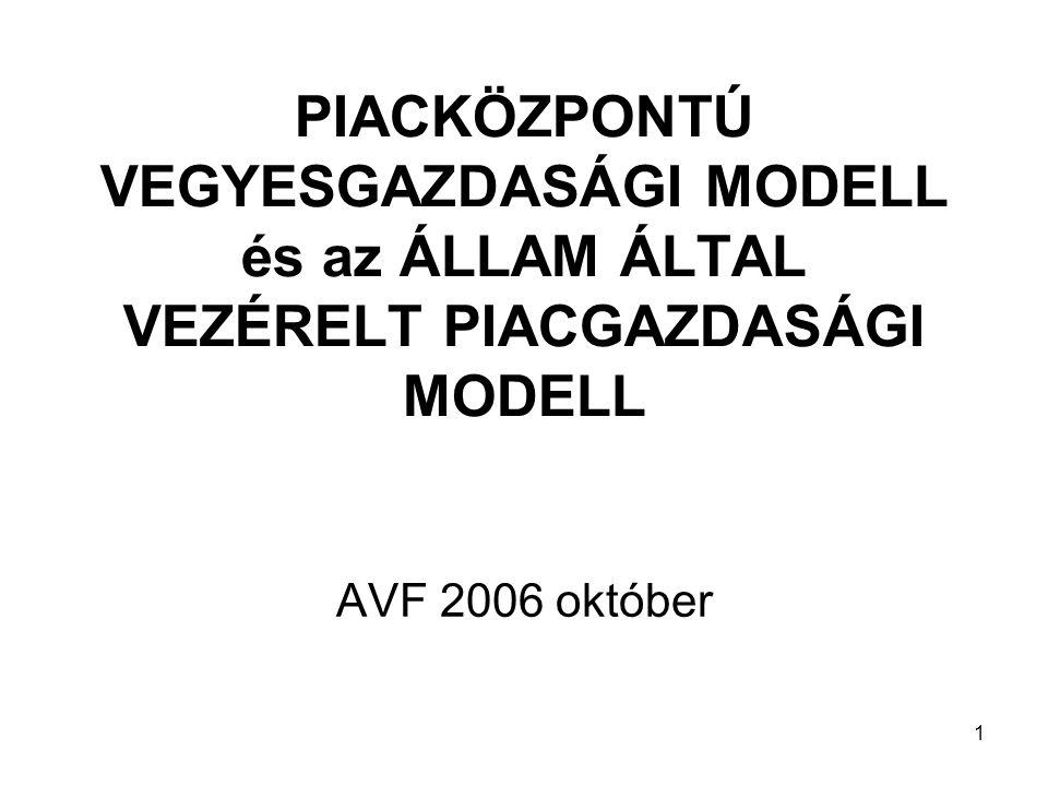 1 PIACKÖZPONTÚ VEGYESGAZDASÁGI MODELL és az ÁLLAM ÁLTAL VEZÉRELT PIACGAZDASÁGI MODELL AVF 2006 október