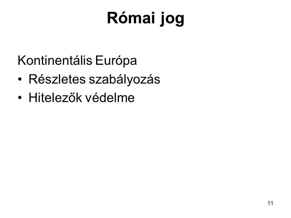 11 Római jog Kontinentális Európa Részletes szabályozás Hitelezők védelme