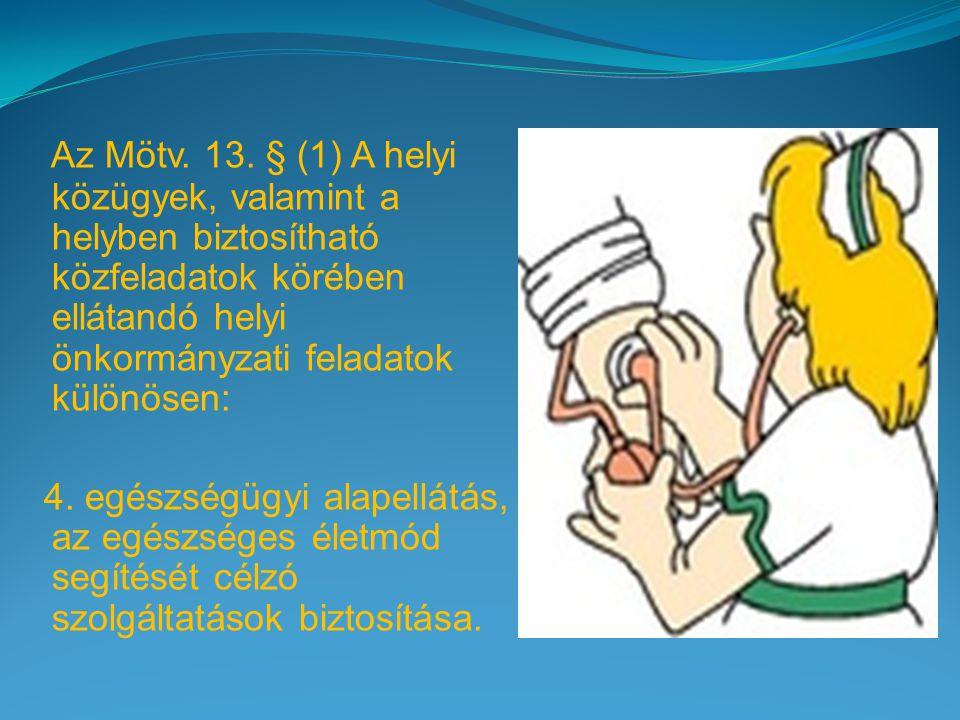 Az Mötv. 13. § (1) A helyi közügyek, valamint a helyben biztosítható közfeladatok körében ellátandó helyi önkormányzati feladatok különösen: 4. egészs