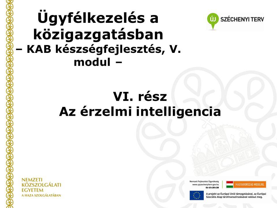 Ügyfélkezelés a közigazgatásban – KAB készségfejlesztés, V. modul – VI. rész Az érzelmi intelligencia