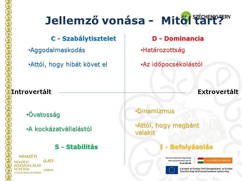 C - Szabálytisztelet D - Dominancia S - Stabilitás I - Befolyásolás IntrovertáltExtrovertált Jellemző vonása - Mitől tart? Aggodalmaskodás Aggodalmask
