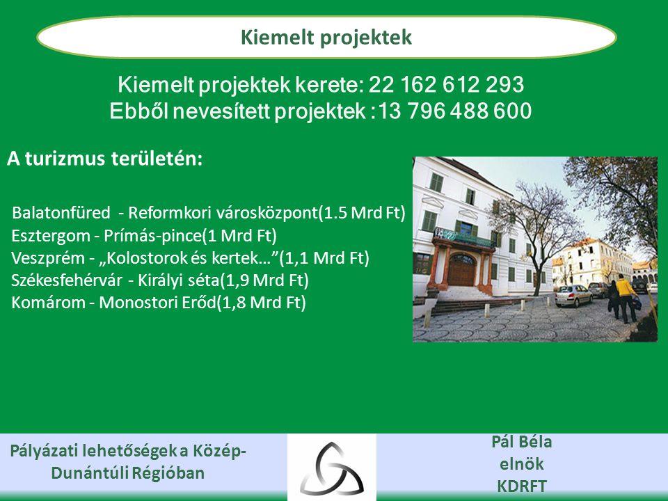 """Pályázati lehetőségek a Közép- Dunántúli Régióban Pál Béla elnök KDRFT Kiemelt projektek Kiemelt projektek kerete: 22 162 612 293 Ebből nevesített projektek :13 796 488 600 A turizmus területén: Balatonfüred - Reformkori városközpont(1.5 Mrd Ft) Esztergom - Prímás-pince(1 Mrd Ft) Veszprém - """"Kolostorok és kertek… (1,1 Mrd Ft) Székesfehérvár - Királyi séta(1,9 Mrd Ft) Komárom - Monostori Erőd(1,8 Mrd Ft)"""
