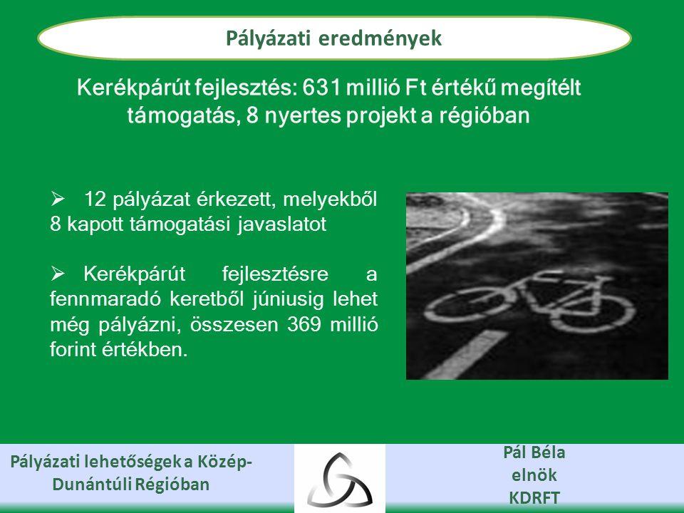 Pályázati lehetőségek a Közép- Dunántúli Régióban Pál Béla elnök KDRFT Pályázati eredmények  12 pályázat érkezett, melyekből 8 kapott támogatási javaslatot  Kerékpárút fejlesztésre a fennmaradó keretből júniusig lehet még pályázni, összesen 369 millió forint értékben.
