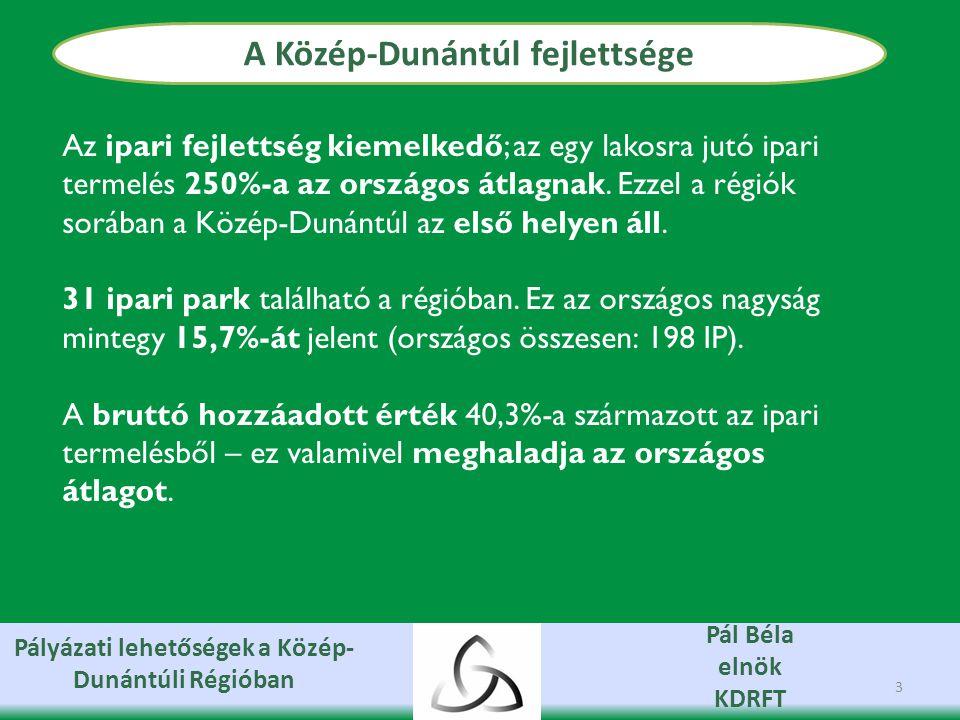 Pályázati lehetőségek a Közép- Dunántúli Régióban Pál Béla elnök KDRFT Az aktivitási arány és a foglalkoztatottak aránya magasabb az országos átlagnál (jelenleg annak 103,6% illetve 106,5%-a).