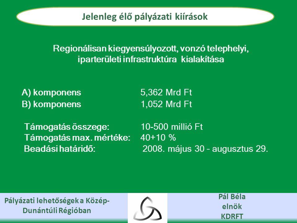 Pályázati lehetőségek a Közép- Dunántúli Régióban Pál Béla elnök KDRFT Jelenleg élő pályázati kiírások Regionálisan kiegyensúlyozott, vonzó telephelyi, iparterületi infrastruktúra kialakítása A) komponens 5,362 Mrd Ft B) komponens 1,052 Mrd Ft Támogatás összege: 10-500 millió Ft Támogatás max.