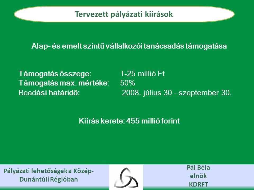Pályázati lehetőségek a Közép- Dunántúli Régióban Pál Béla elnök KDRFT Tervezett pályázati kiírások Alap- és emelt szintű vállalkozói tanácsadás támogatása Támogatás összege: 1-25 millió Ft Támogatás max.