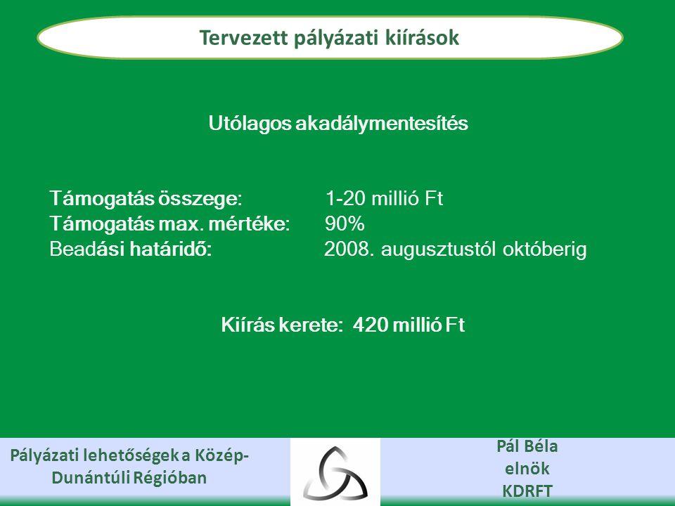 Pályázati lehetőségek a Közép- Dunántúli Régióban Pál Béla elnök KDRFT Tervezett pályázati kiírások Utólagos akadálymentesítés Támogatás összege: 1-20 millió Ft Támogatás max.