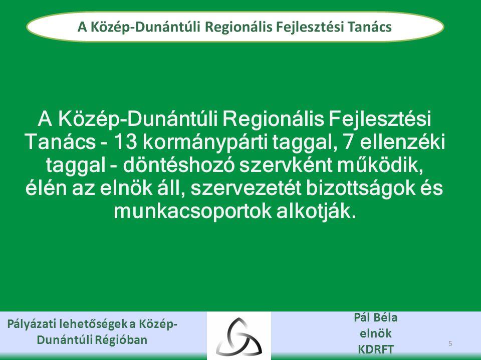 Pályázati lehetőségek a Közép- Dunántúli Régióban Pál Béla elnök KDRFT A Közép-Dunántúli Regionális Fejlesztési Tanács 5 A Közép-Dunántúli Regionális Fejlesztési Tanács - 13 kormánypárti taggal, 7 ellenzéki taggal - döntéshozó szervként működik, élén az elnök áll, szervezetét bizottságok és munkacsoportok alkotják.