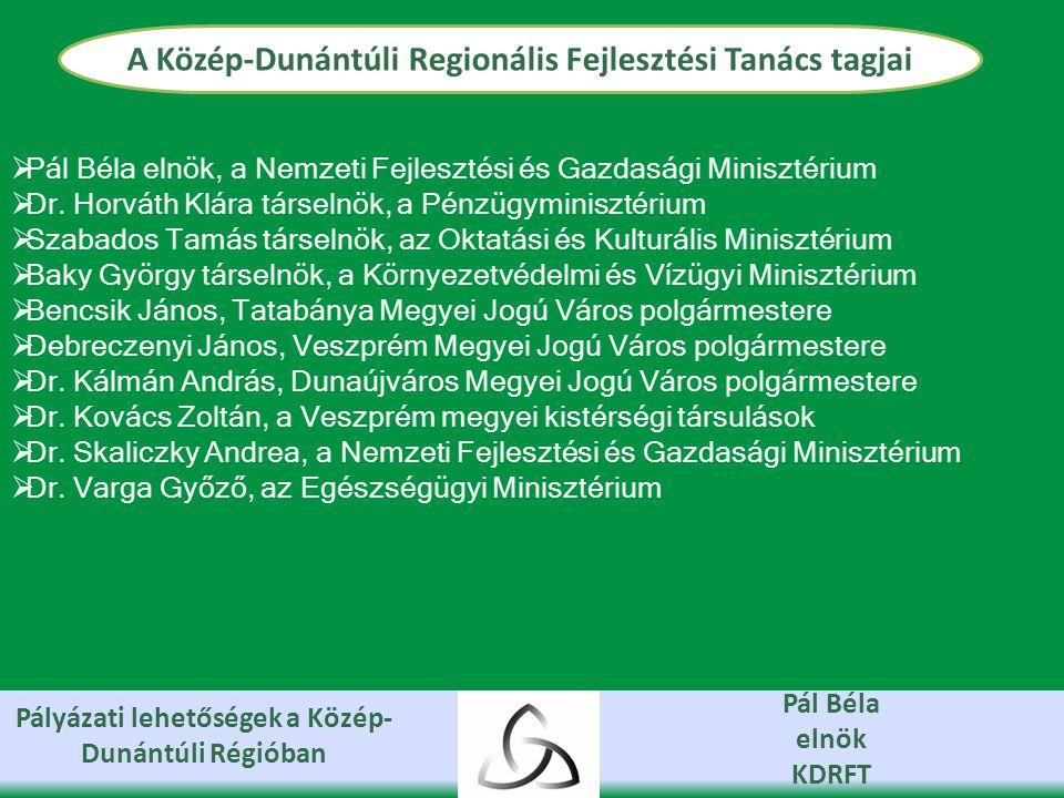 Pályázati lehetőségek a Közép- Dunántúli Régióban Pál Béla elnök KDRFT Jelenleg élő pályázati kiírások Leromlott vagy leromlással veszélyeztetett városrészek rehabilitációja (20.000 fő feletti városokra vonatkozóan) Támogatás összege: 200-750 millió Ft Támogatás max.