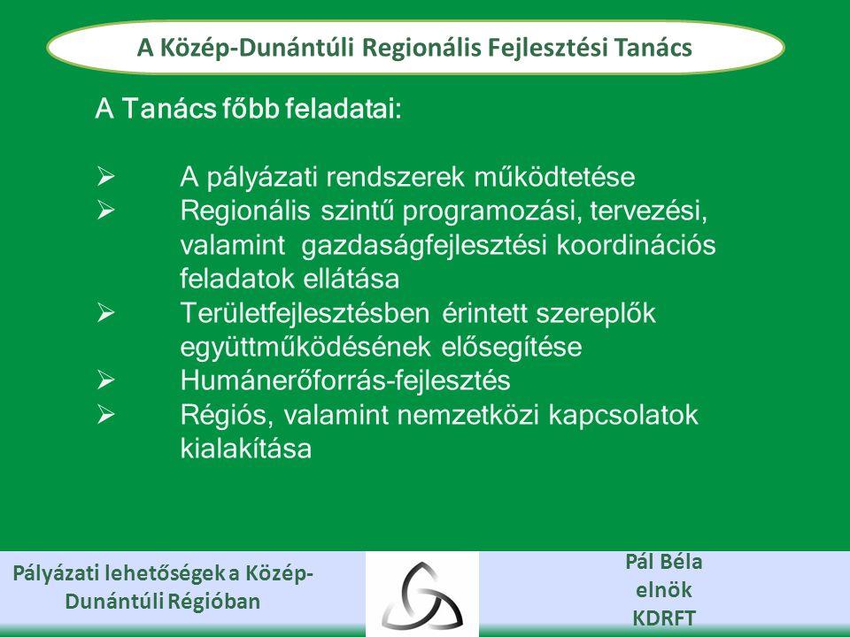 Pályázati lehetőségek a Közép- Dunántúli Régióban Pál Béla elnök KDRFT A Közép-Dunántúli Regionális Fejlesztési Tanács A Tanács főbb feladatai:  A pályázati rendszerek működtetése  Regionális szintű programozási, tervezési, valamint gazdaságfejlesztési koordinációs feladatok ellátása  Területfejlesztésben érintett szereplők együttműködésének elősegítése  Humánerőforrás-fejlesztés  Régiós, valamint nemzetközi kapcsolatok kialakítása