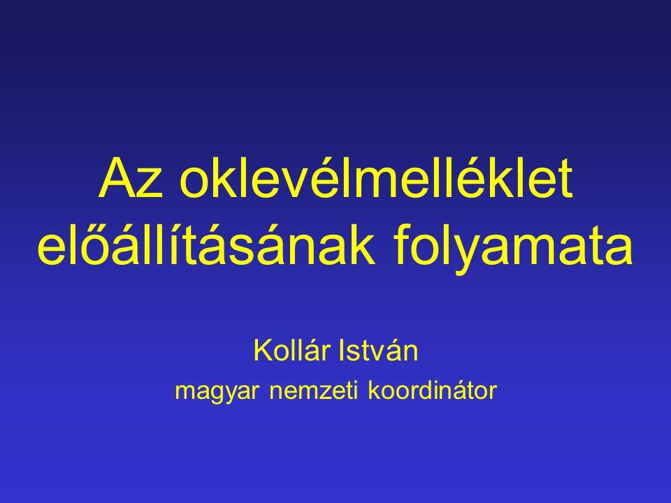 Az oklevélmelléklet előállításának folyamata Kollár István magyar nemzeti koordinátor