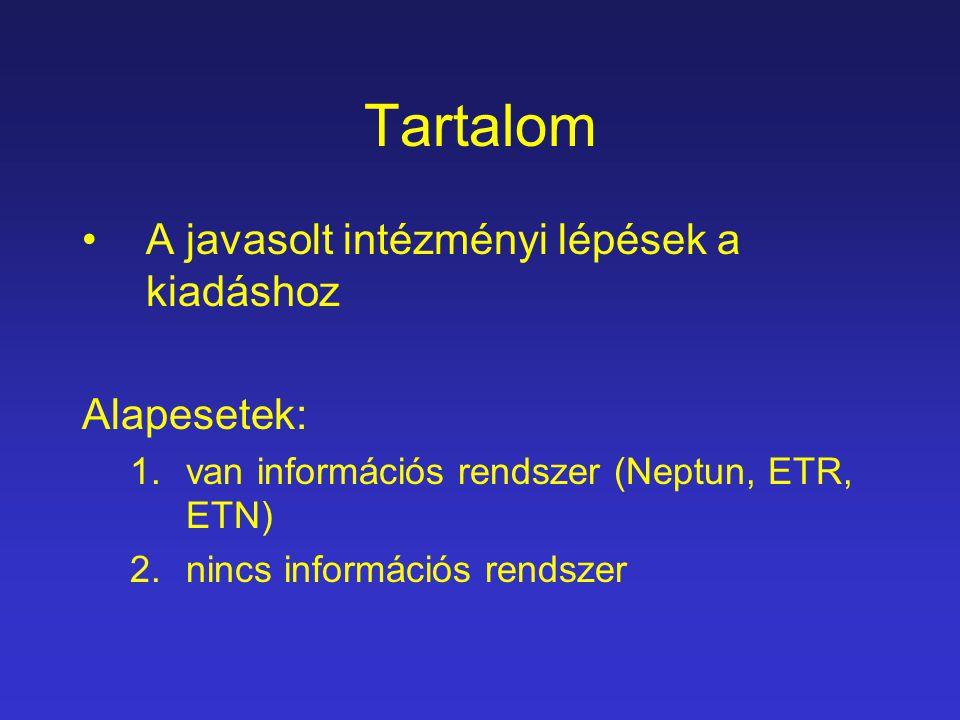 Tartalom A javasolt intézményi lépések a kiadáshoz Alapesetek: 1.van információs rendszer (Neptun, ETR, ETN) 2.nincs információs rendszer