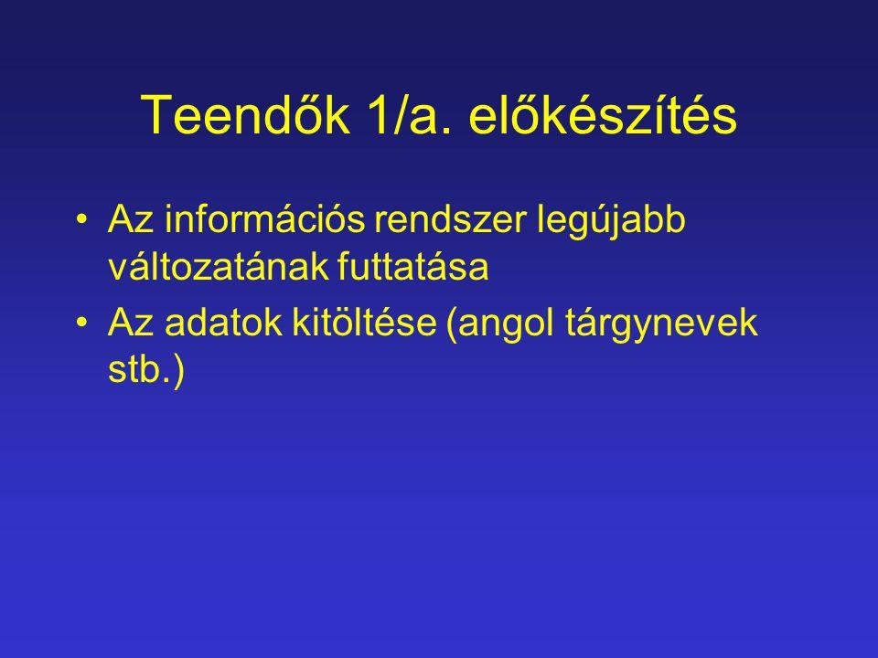 Teendők 1/a. előkészítés Az információs rendszer legújabb változatának futtatása Az adatok kitöltése (angol tárgynevek stb.)