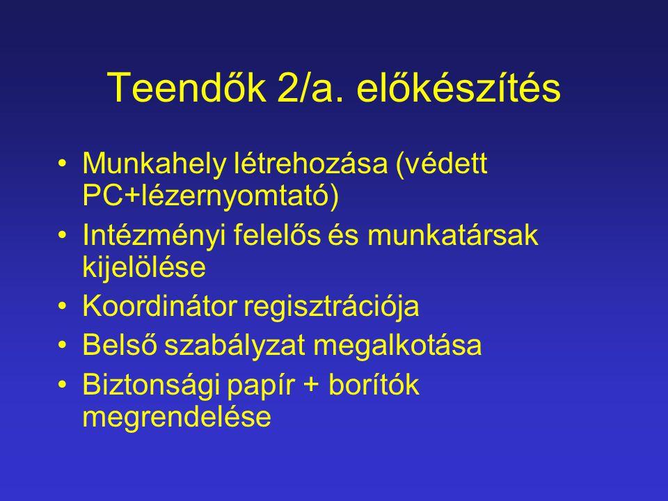 Teendők 2/a. előkészítés Munkahely létrehozása (védett PC+lézernyomtató) Intézményi felelős és munkatársak kijelölése Koordinátor regisztrációja Belső