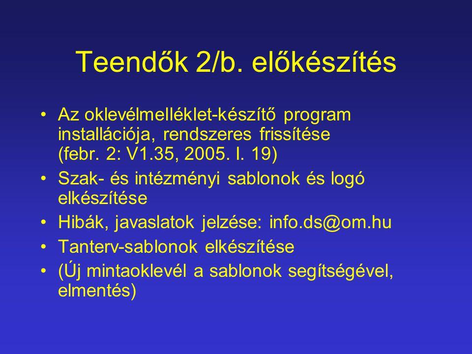 Teendők 2/b. előkészítés Az oklevélmelléklet-készítő program installációja, rendszeres frissítése (febr. 2: V1.35, 2005. I. 19) Szak- és intézményi sa