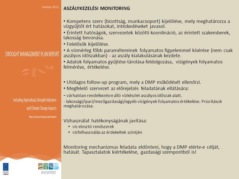 ASZÁLYKEZELÉSI MONITORING Kompetens szerv (bizottság, munkacsoport) kijelölése, mely meghatározza a vízgyűjtőt ért hatásokat, intézkedéseket javasol.