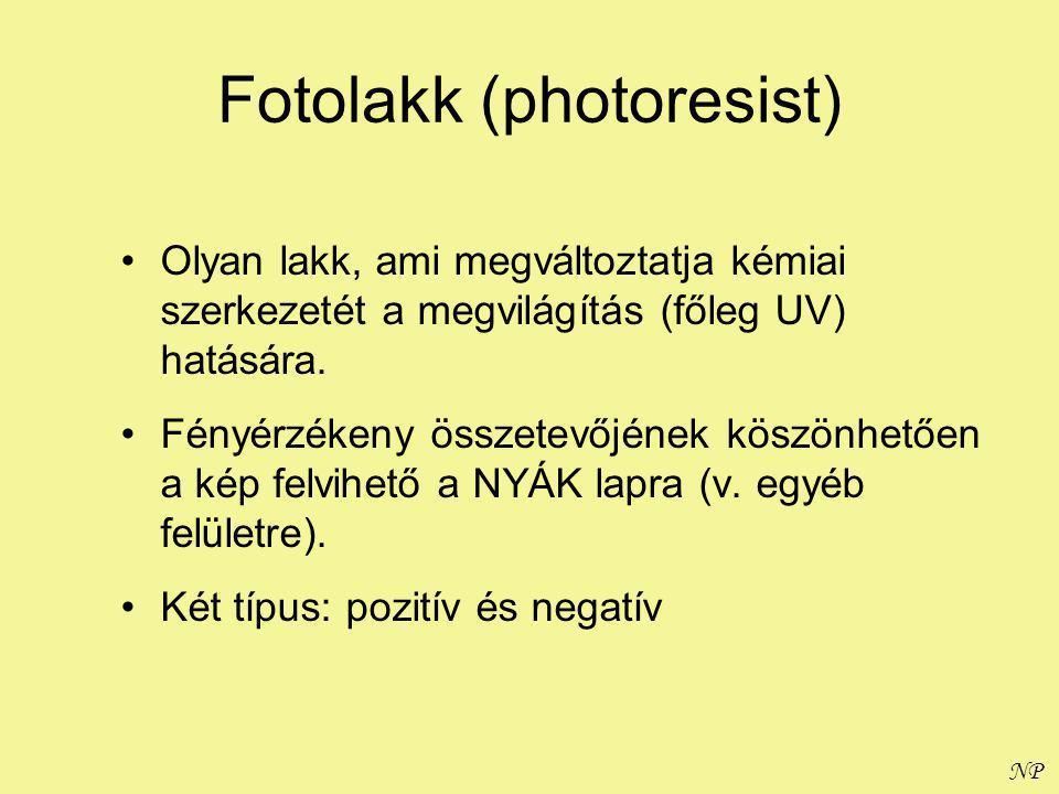 NP Fotolakk (photoresist) Olyan lakk, ami megváltoztatja kémiai szerkezetét a megvilágítás (főleg UV) hatására.