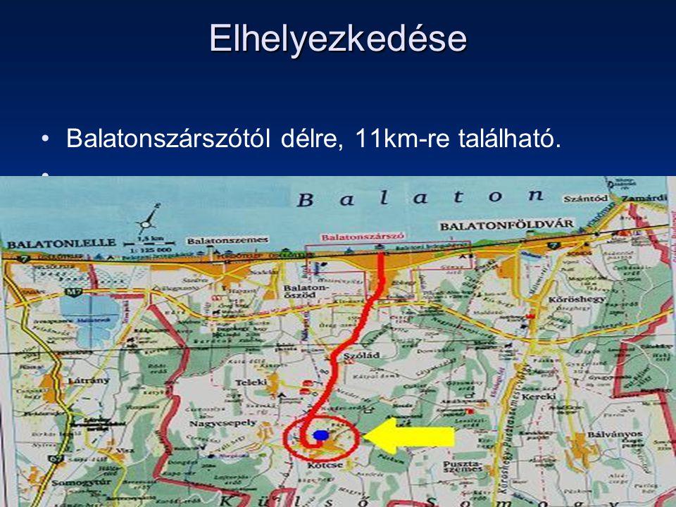 Elhelyezkedése Balatonszárszótól délre, 11km-re található.