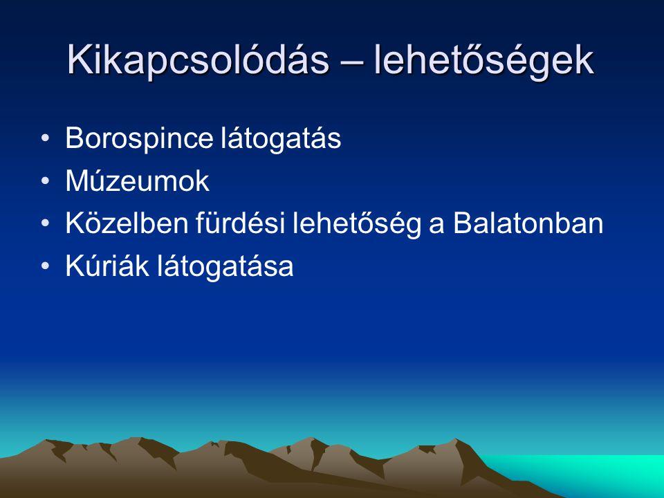 Kikapcsolódás – lehetőségek Borospince látogatás Múzeumok Közelben fürdési lehetőség a Balatonban Kúriák látogatása