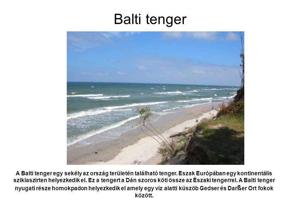 A Balti tenger egy sekély az ország területén található tenger. Eszak Európában egy kontinentális sziklaszirten helyezkedik el. Ez a tengert a Dán szo