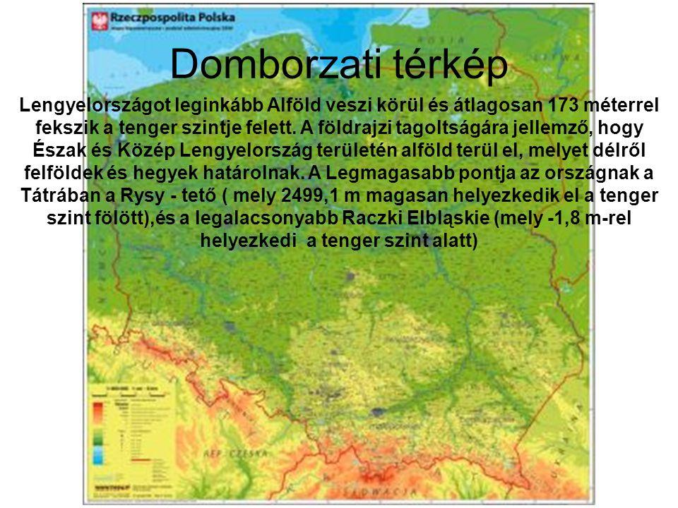 Domborzati térkép Lengyelországot leginkább Alföld veszi körül és átlagosan 173 méterrel fekszik a tenger szintje felett. A földrajzi tagoltságára jel