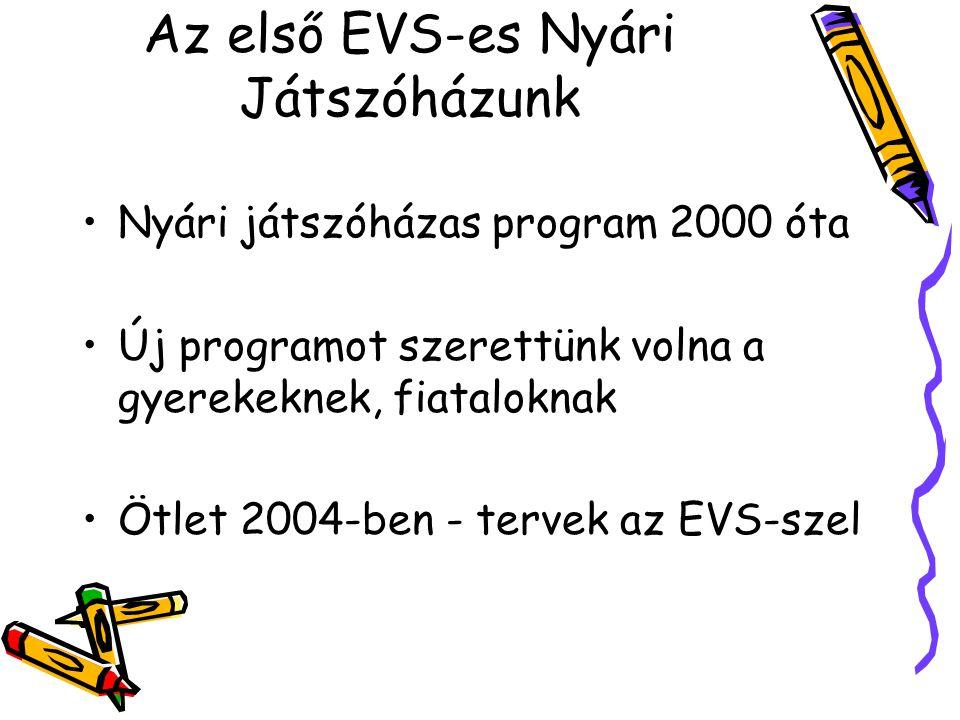 Az első EVS-es Nyári Játszóházunk Nyári játszóházas program 2000 óta Új programot szerettünk volna a gyerekeknek, fiataloknak Ötlet 2004-ben - tervek az EVS-szel