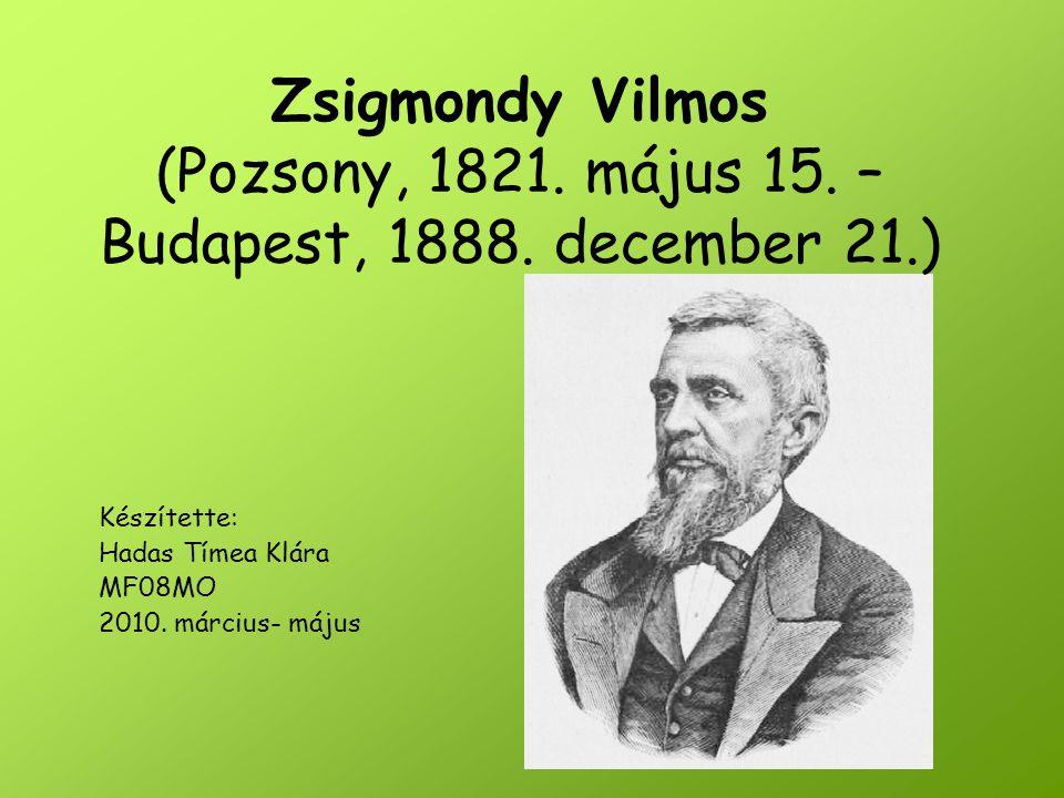 Zsigmondy Vilmos (Pozsony, 1821. május 15. – Budapest, 1888. december 21.) Készítette: Hadas Tímea Klára MF08MO 2010. március- május