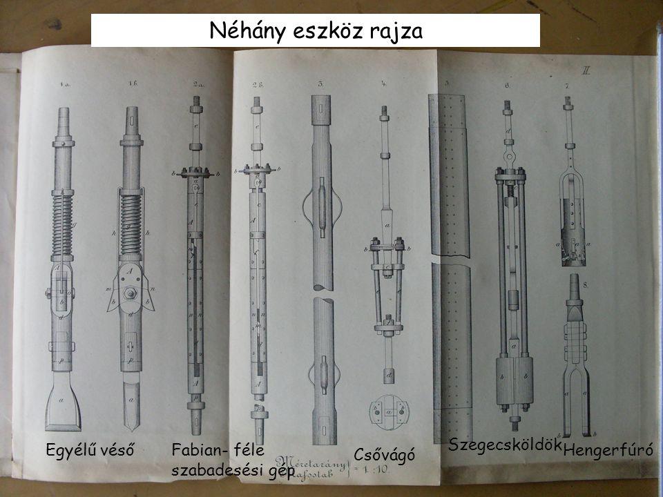 Néhány eszköz rajza Egyélű vésőFabian- féle szabadesési gép Csővágó Szegecsköldök Hengerfúró