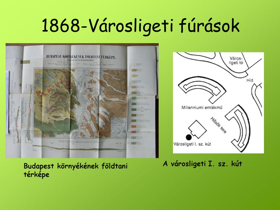 A városligeti I. sz. kút 1868-Városligeti fúrások Budapest környékének földtani térképe
