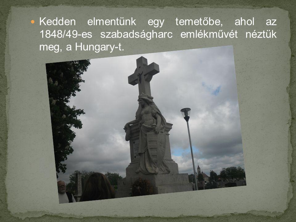 Kedden elmentünk egy temetőbe, ahol az 1848/49-es szabadságharc emlékművét néztük meg, a Hungary-t.