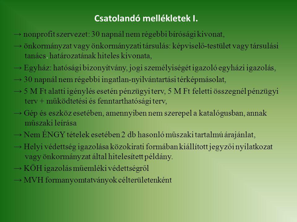 Csatolandó mellékletek I. → nonprofit szervezet: 30 napnál nem régebbi bírósági kivonat, → önkormányzat vagy önkormányzati társulás: képviselő-testüle