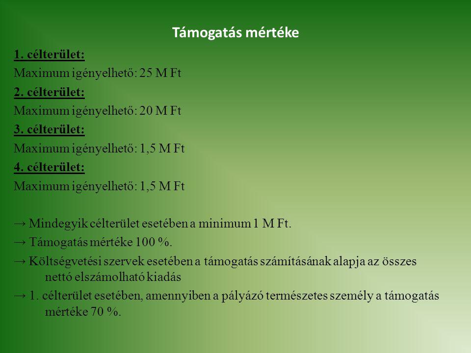Támogatás mértéke 1.célterület: Maximum igényelhető: 25 M Ft 2.