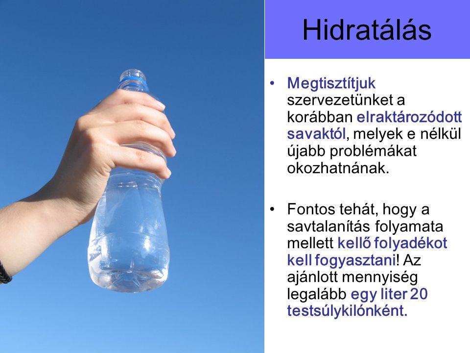 Hidratálás Megtisztítjuk szervezetünket a korábban elraktározódott savaktól, melyek e nélkül újabb problémákat okozhatnának. Fontos tehát, hogy a savt