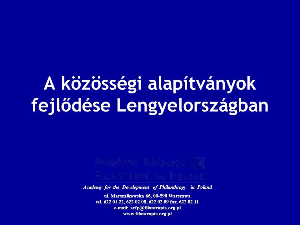 A közösségi alapítványok fejlődése Lengyelországban Academy for the Development of Philanthropy in Poland ul.