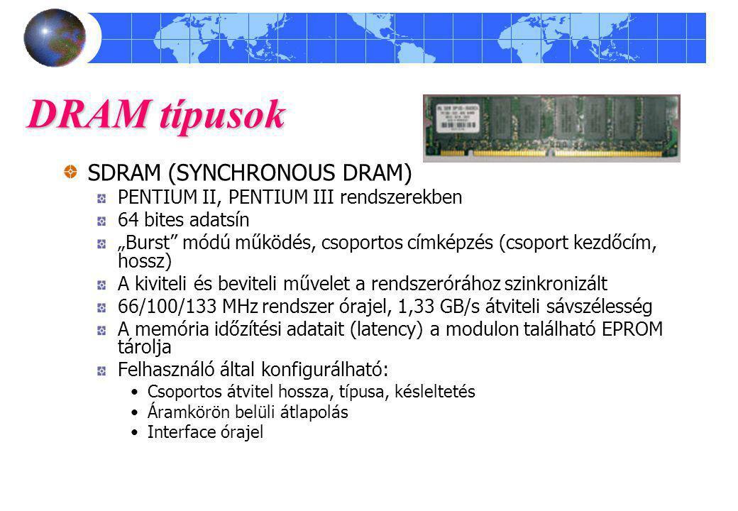 """DRAM típusok SDRAM (SYNCHRONOUS DRAM) PENTIUM II, PENTIUM III rendszerekben 64 bites adatsín """"Burst"""" módú működés, csoportos címképzés (csoport kezdőc"""