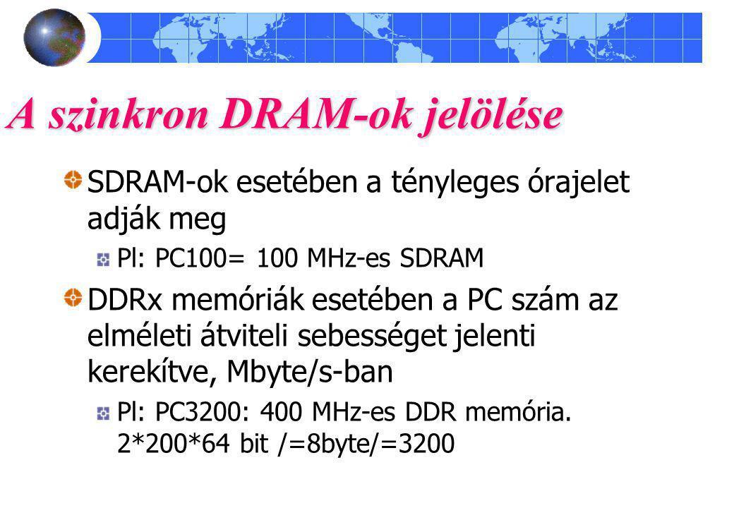 A szinkron DRAM-ok jelölése SDRAM-ok esetében a tényleges órajelet adják meg Pl: PC100= 100 MHz-es SDRAM DDRx memóriák esetében a PC szám az elméleti