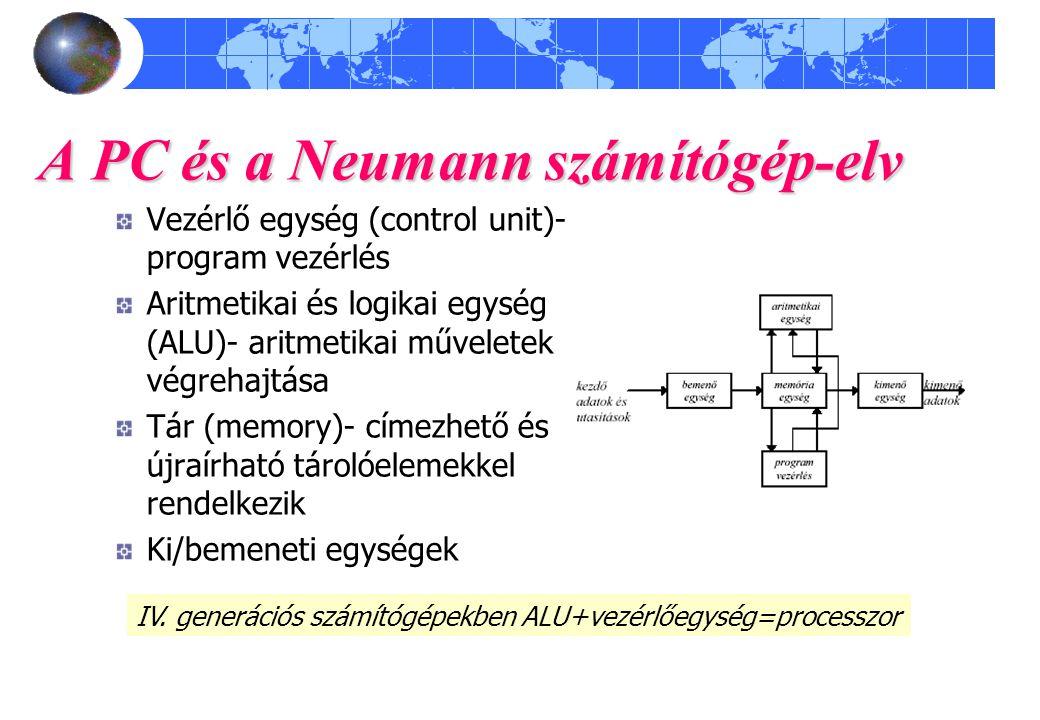 Vezérlő egység (control unit)- program vezérlés Aritmetikai és logikai egység (ALU)- aritmetikai műveletek végrehajtása Tár (memory)- címezhető és újr
