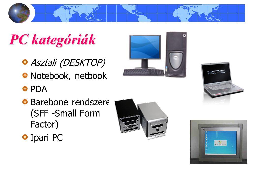 PC kategóriák Asztali (DESKTOP) Notebook, netbook PDA Barebone rendszerek (SFF -Small Form Factor) Ipari PC