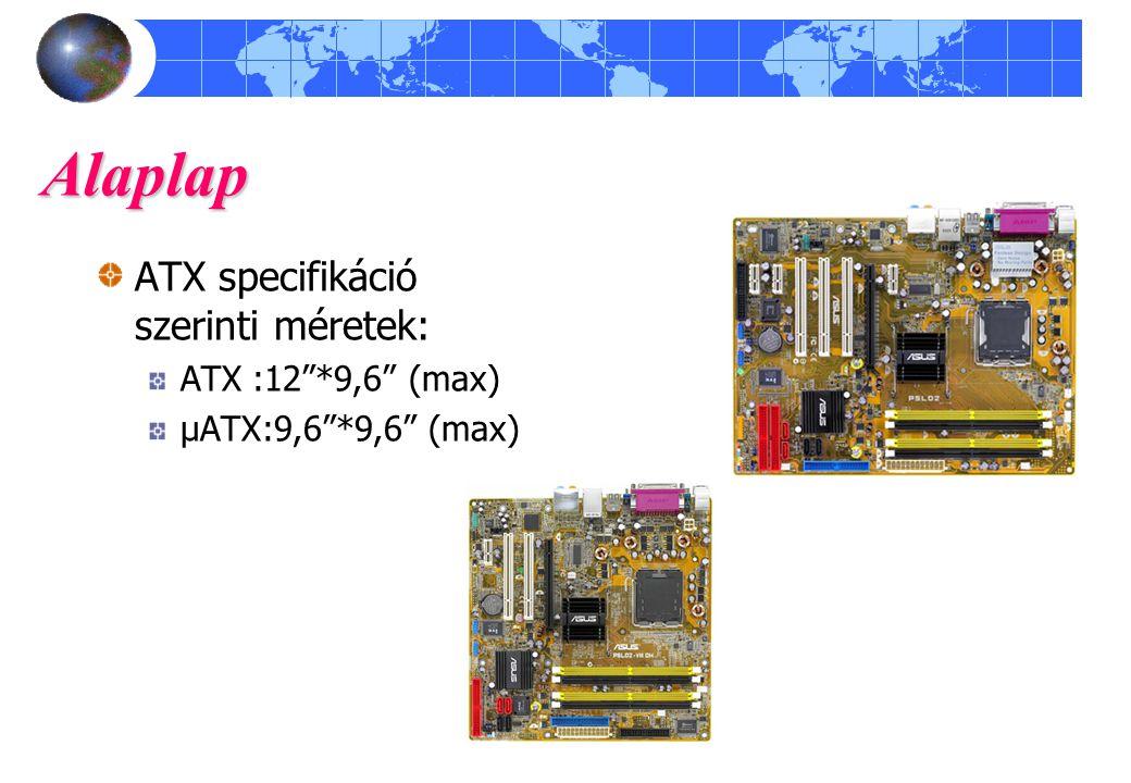 "Alaplap ATX specifikáció szerinti méretek: ATX :12""*9,6"" (max) μATX:9,6""*9,6"" (max)"