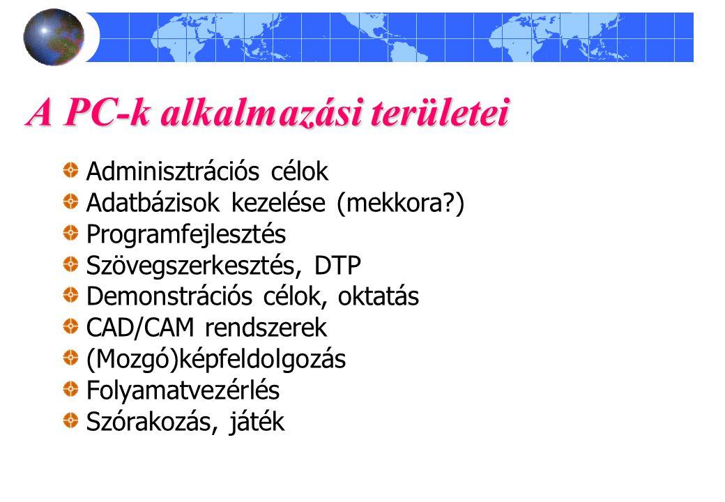 A PC-k alkalmazási területei Adminisztrációs célok Adatbázisok kezelése (mekkora?) Programfejlesztés Szövegszerkesztés, DTP Demonstrációs célok, oktat